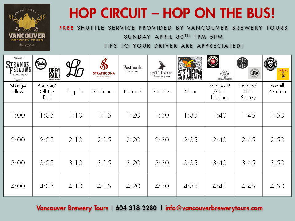 Hop Circuit Craft Beer Shuttle Schedule