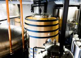 Vancouver Brewery Tours Inc. -Foudre and Fermentation Tanks in the brewhouse at Brassneck Brewery